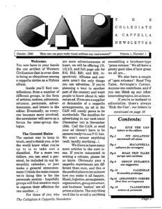Contemporary A Cappella Newsletter 1.1 October 1990